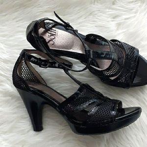 Black heeled sandal by Sofft. Comfort